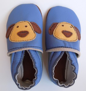 Blue Dog Baby Booties by Deborah Anderson